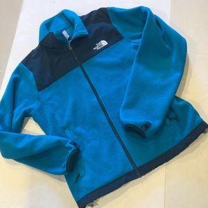 North Face women's full zip fleece blue small